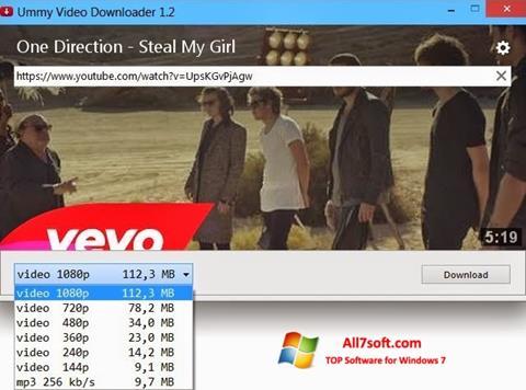 لقطة شاشة Ummy Video Downloader لنظام التشغيل Windows 7