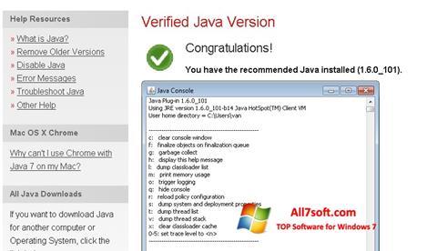 لقطة شاشة Java لنظام التشغيل Windows 7