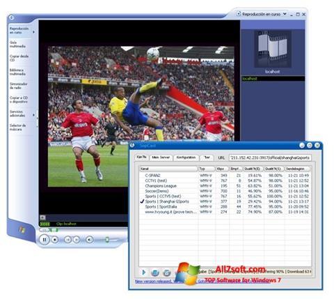 لقطة شاشة SopCast لنظام التشغيل Windows 7