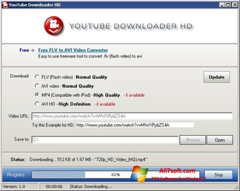 لقطة شاشة Youtube Downloader HD لنظام التشغيل Windows 7