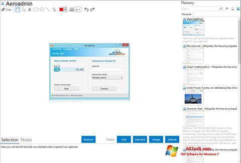 لقطة شاشة AeroAdmin لنظام التشغيل Windows 7