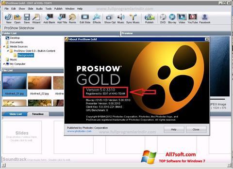 لقطة شاشة ProShow Gold لنظام التشغيل Windows 7