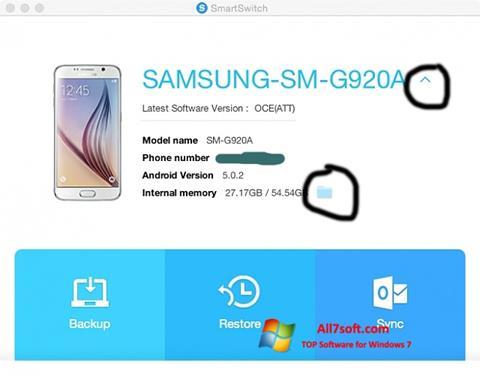 لقطة شاشة Samsung Smart Switch لنظام التشغيل Windows 7