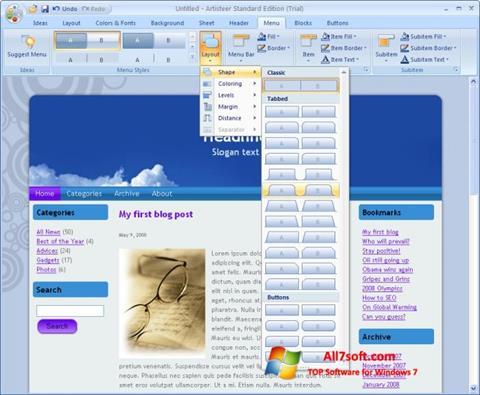 لقطة شاشة Artisteer لنظام التشغيل Windows 7