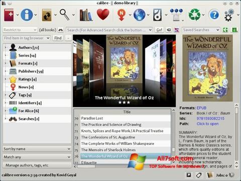لقطة شاشة Calibre لنظام التشغيل Windows 7