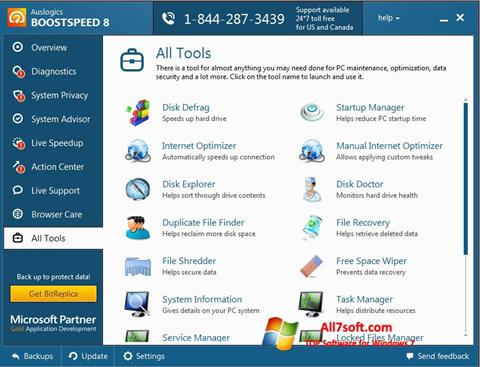 لقطة شاشة Auslogics BoostSpeed لنظام التشغيل Windows 7