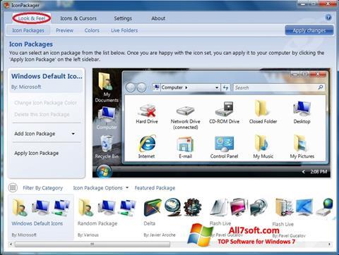 لقطة شاشة IconPackager لنظام التشغيل Windows 7