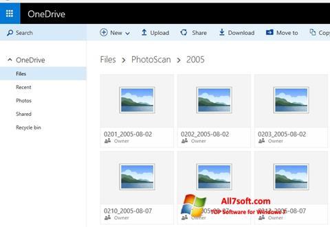 لقطة شاشة OneDrive لنظام التشغيل Windows 7