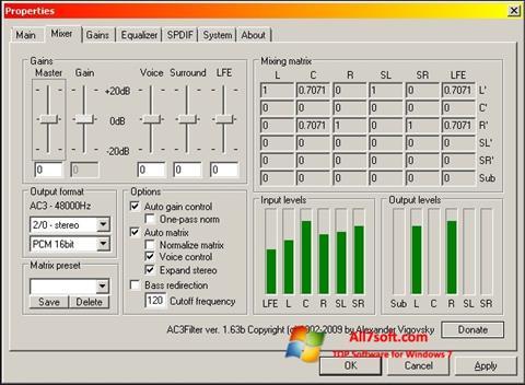 لقطة شاشة AC3 Codec لنظام التشغيل Windows 7