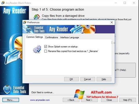 لقطة شاشة AnyReader لنظام التشغيل Windows 7