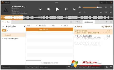 لقطة شاشة AIMP لنظام التشغيل Windows 7