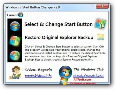 لقطة شاشة Windows 7 Start Button Changer لنظام التشغيل Windows 7
