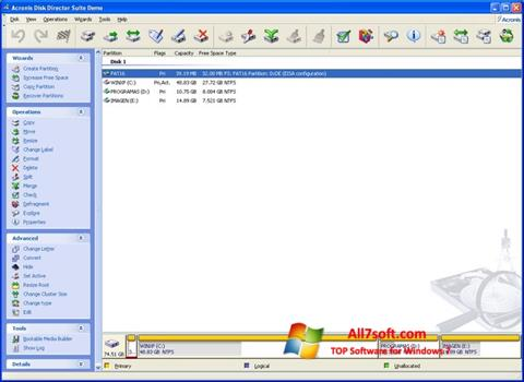 لقطة شاشة Acronis Partition Magic لنظام التشغيل Windows 7