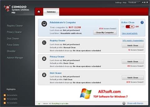 لقطة شاشة Comodo System Utilities لنظام التشغيل Windows 7