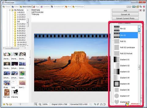 لقطة شاشة PhotoScape لنظام التشغيل Windows 7