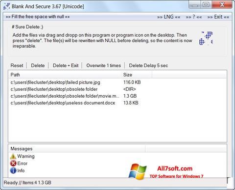 لقطة شاشة Blank And Secure لنظام التشغيل Windows 7