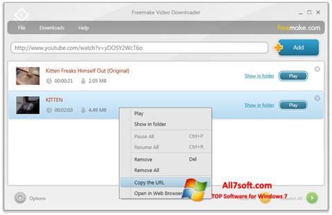 لقطة شاشة Freemake Video Downloader لنظام التشغيل Windows 7